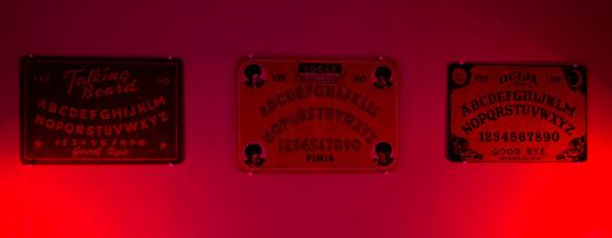 Ouija boards on display