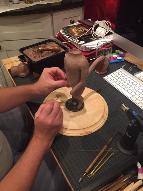 Ken Gerleve sculpts a puppet