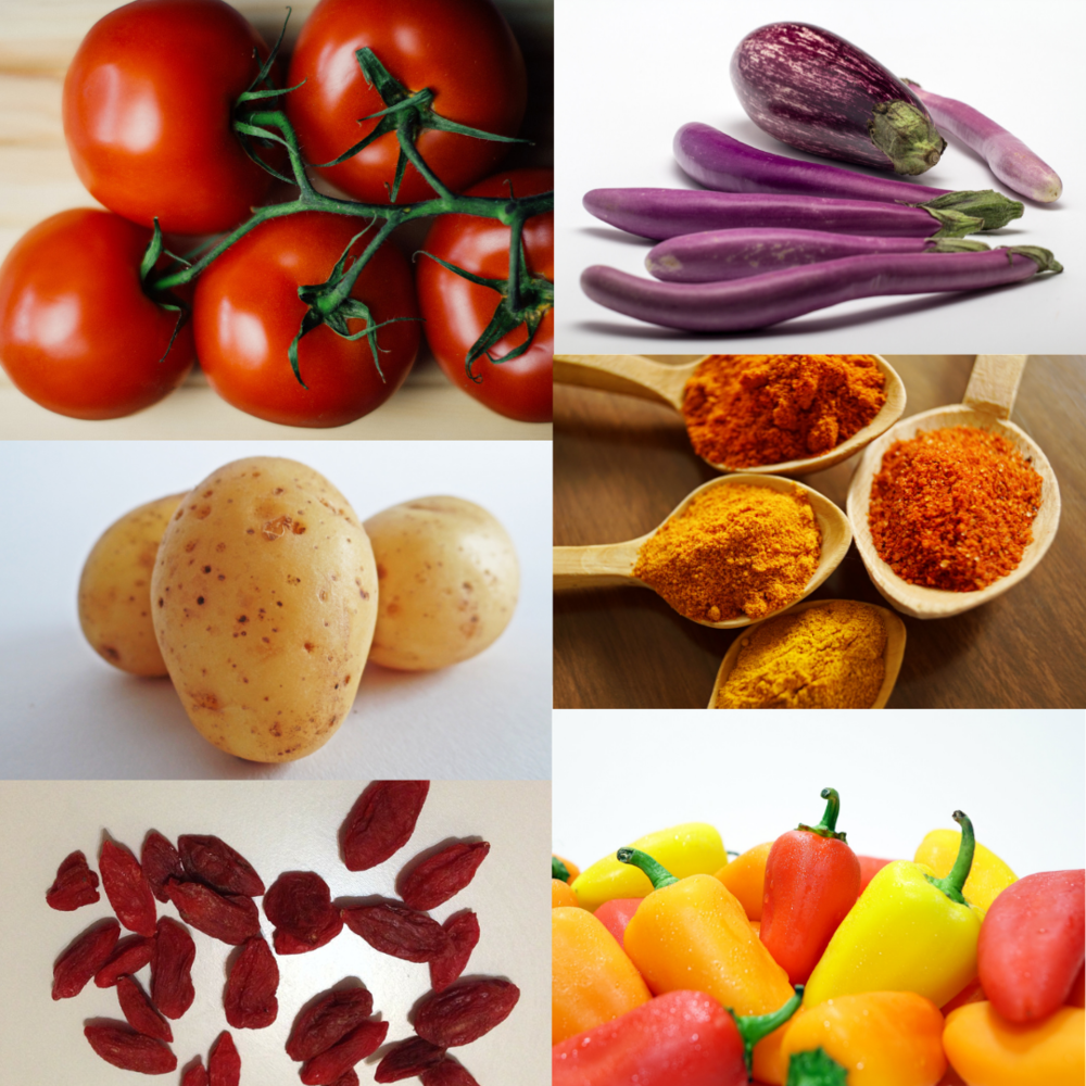Nightshades: Tomatoes (all varieties), Potatoes (white and red potatoes but not sweet potatoes), Eggplant, Peppers (Bell peppers, chili peppers, and any red spices), Paprika, and Goji berries