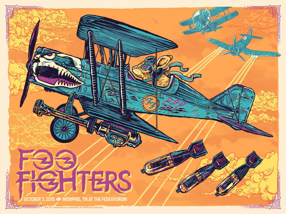This is the second poster I did for this Foo Fighters tour. I referenced previous album artwork as much as possible.