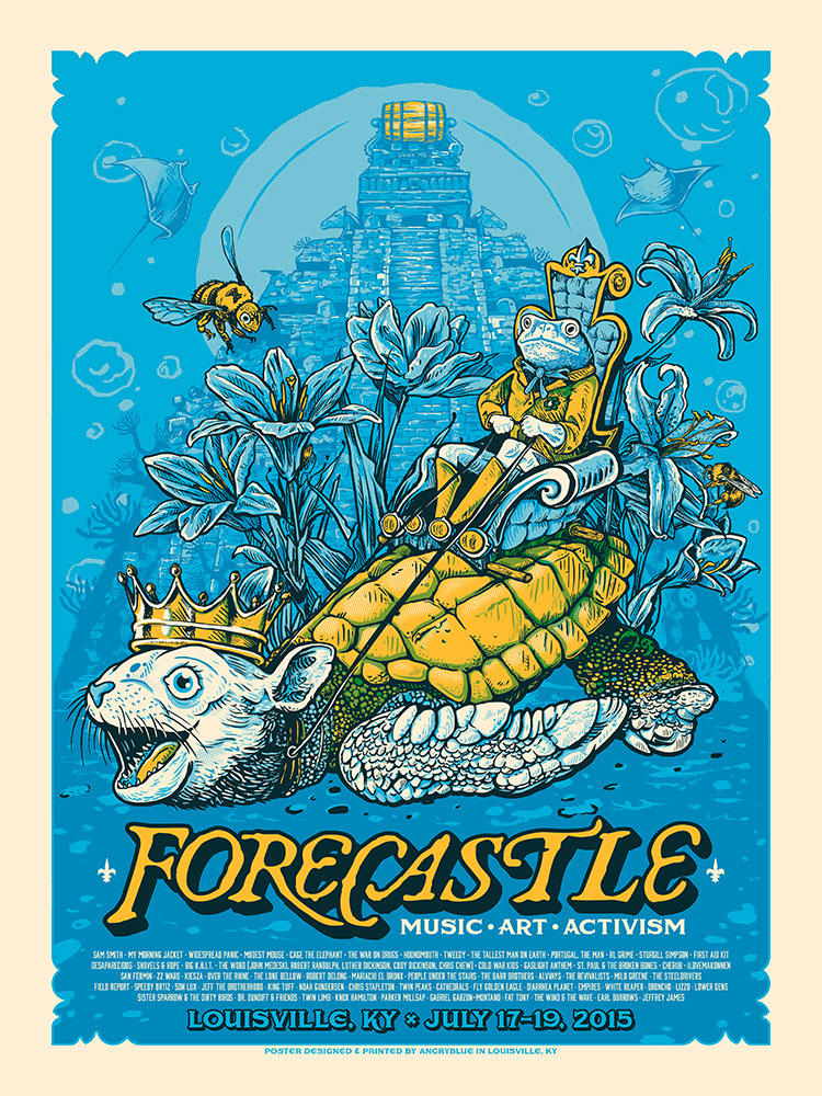 Forecastle is a music festival in Louisville, KY with an aesthetic focus of water, bourbon, surrealism and activism. I did a poster for 2014, 2016 and this one for 2015.