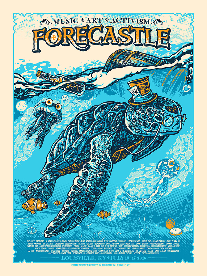 Forecastle is a music festival in Louisville, KY with an aesthetic focus of water, bourbon, surrealism and activism. I did a poster for 2014, 2015 and this one for 2016.