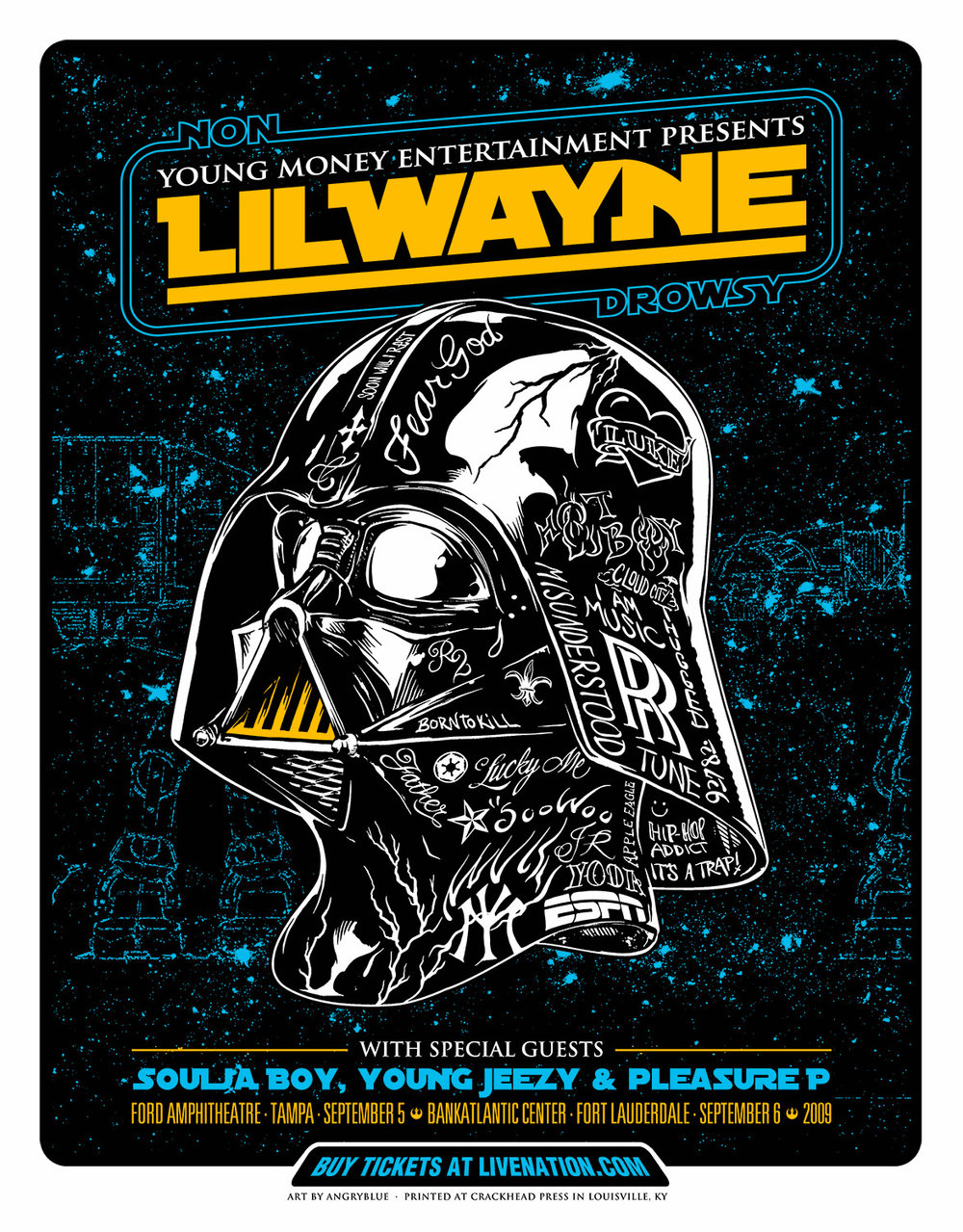 Poster for Lil' Wayne! Most of the tattoos on this helmet are based off of ink Wayne has.