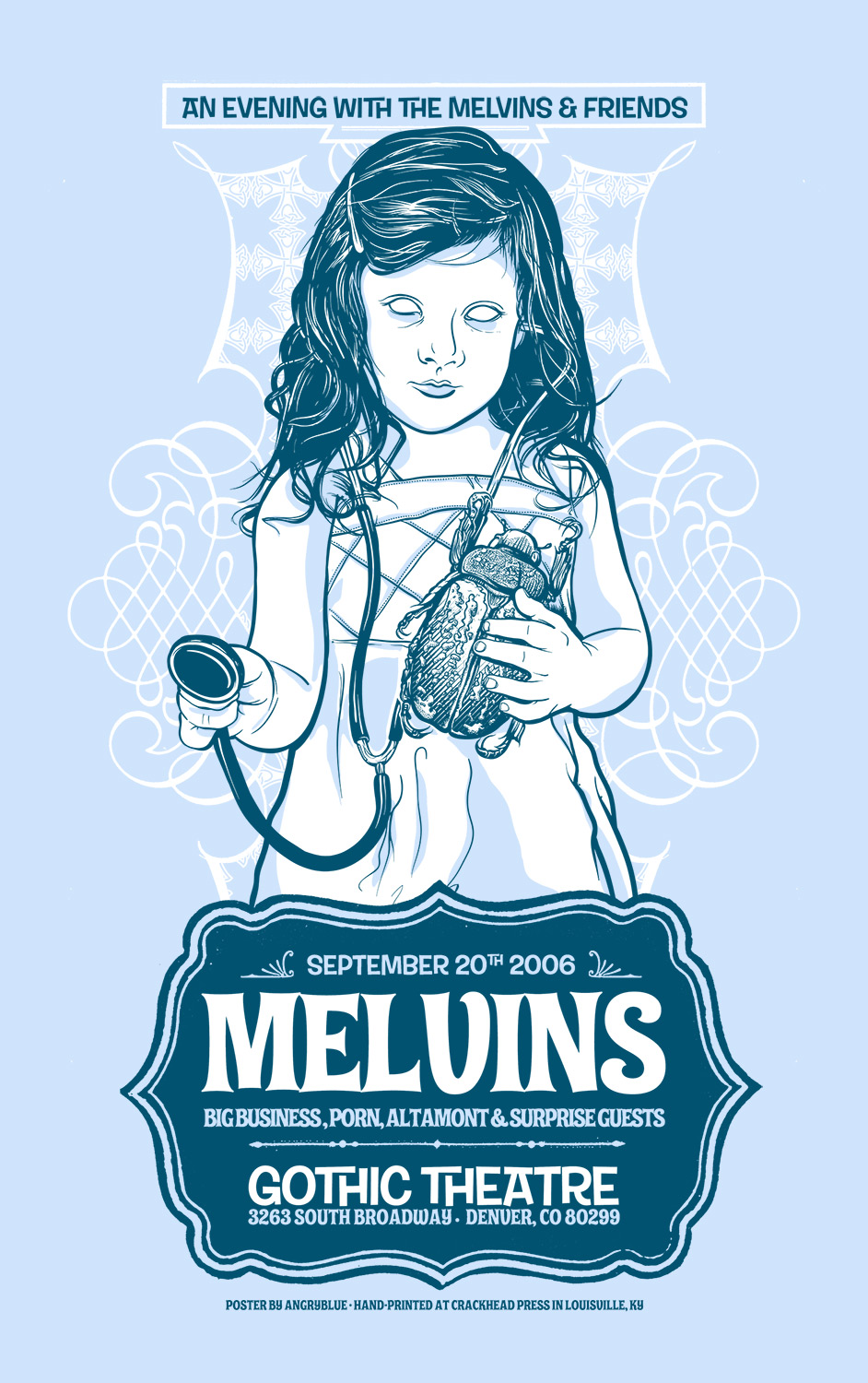 This was my first Melvins poster printed during the very first year of having Crackhead Press set up in  Jeral Tidwell's  garage.