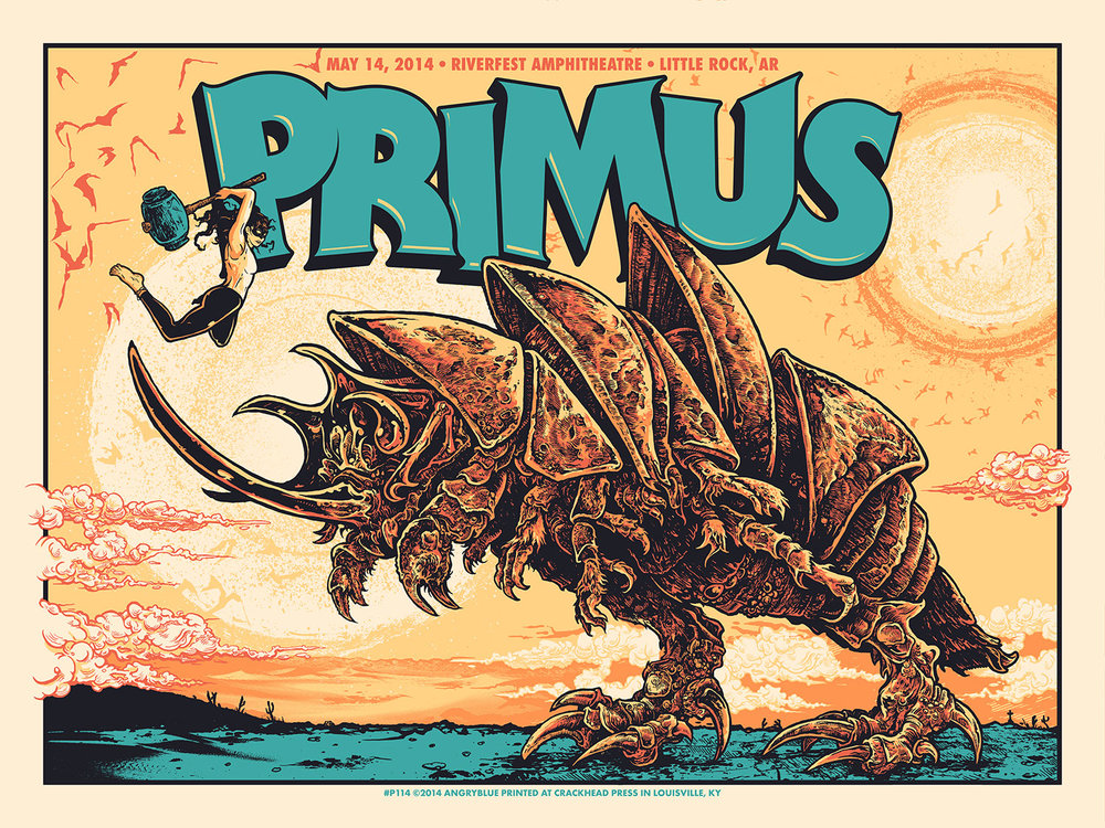 This Primus poster was originally aimed to be an Eddie Vedder poster for an Australian show - which is why the kaiju monster looks like the Sydney Opera House. It's more fitting for Primus.