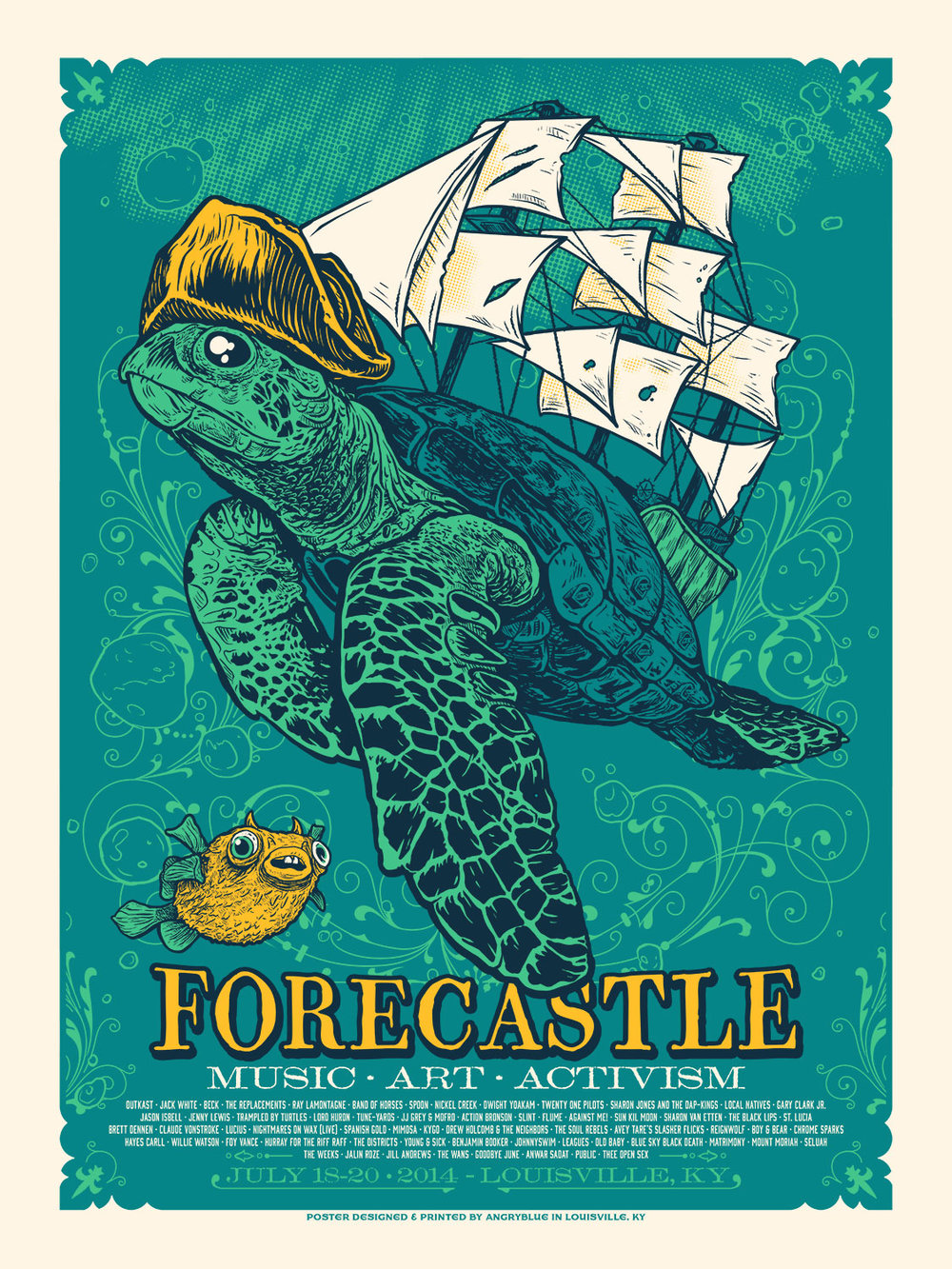 Forecastle is a music festival in Louisville, KY with an aesthetic focus of water, bourbon, surrealism and activism. I did this poster for 2014 and two others for 2015 and 2016.