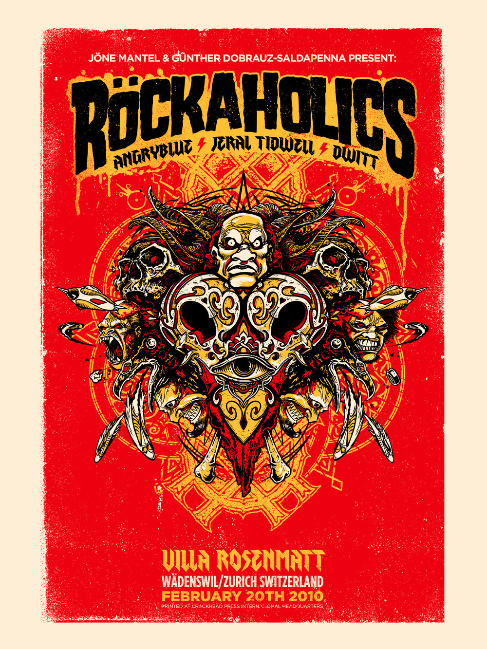 Rockaholics was a show in Zurich, Switzerland featuring the work of Angryblue, Jeral Tidwell and David Witt. We all flew over to represent and meet some new friends.