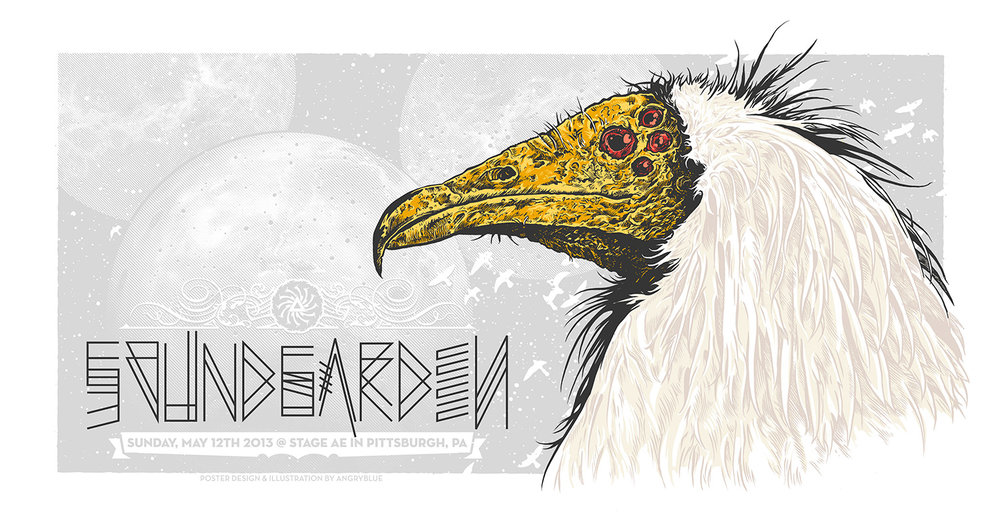 The Egyptian vulture is a beautiful creature I thought fitting for a Soundgarden poster.