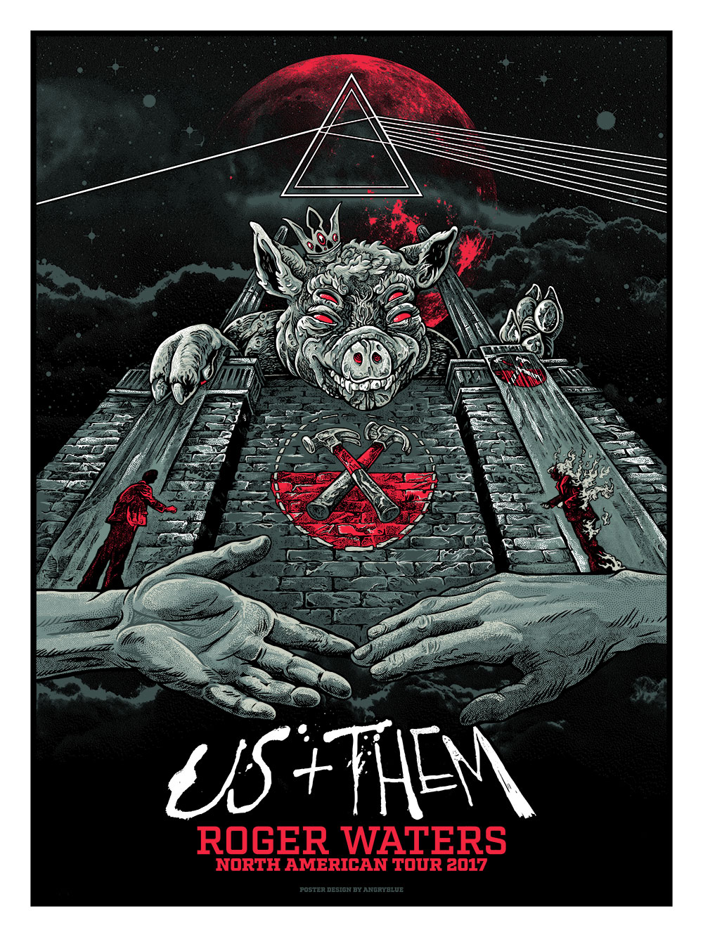 It was incredibly flattering to be asked to do the tour poster for the 2017 Roger Waters tour. It's a beautiful show and if you get the opportunity to check out one of the dates, treat yourself to an evening of a wonderful audio and visual experience. It might be the best concert I've attended. Having free reign has been something that's slowly being taken from artists in this poster world for some reason. Naturally, I had to get a final sign-off as it's merchandise for the tour, but I didn't feel like I had anyone lording over my shoulders. The only direction I was given was to keep with the tour through line of referencing the 'Animals' cover. So, I started with Battersea Power Station and thought a giant snarling pig lording over the edge would be a fun dynamic take. After that, I started peppering in some references to other albums that would have selections played from throughout the show. My artist proofs will be available: Friday (12pm est) 6.23.17 The original ink drawing is available for purchase. The pencils have sold. Email me if interested.
