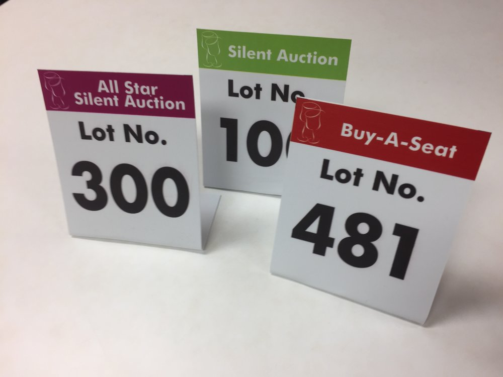 Auction Lot Number Signs