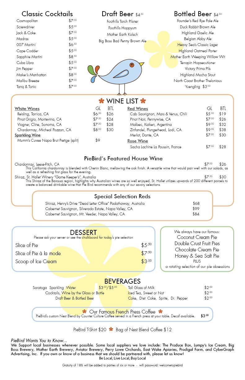 PieBird Restaurant Dinner Menu Design Back by Cybergraph