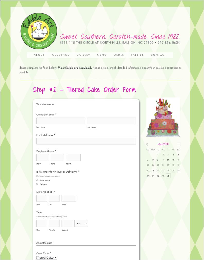 Edible Art Bakery Web Site Order Form Design by Cybergraph