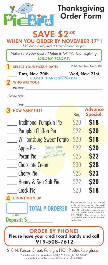 PieBird Thanksgiving Order Form Design by Cybergraph