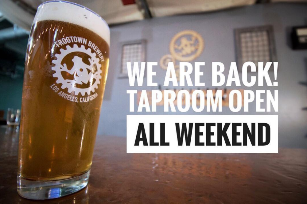 - We are excited to announce that the taproom will be back open just in time to kick off the holiday weekend! To celebrate, we'll be open for extended hours (including Monday) and giving away a free branded pint glass to the first 25 customers who stop by for a beer. We can't thank you all enough for your patience and look forward to seeing you this weekend!Special Memorial Day Weekend hours:FRI 4pm - 10pm | SAT 12pm - 10pm | SUN 12pm - 8pm | MON 12pm - 6pm