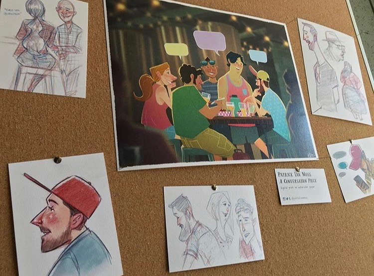 Drawings of Frogtown Brewery customers in the tasting room by Patrick Moss
