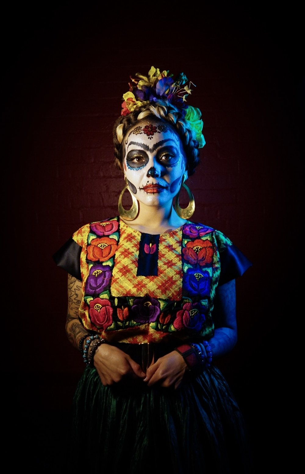 Photograph on display at Frogtown Brewery as part of Gus Mejia's Dia De Los Muertos Photo Exhibition