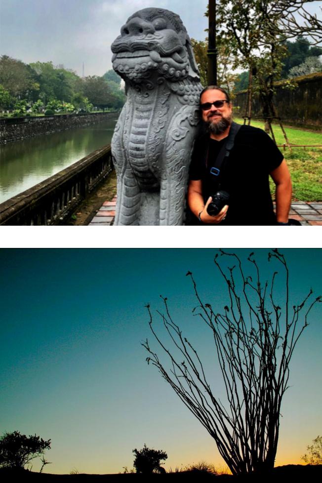 Photographer Jim Kisiel posing with statue (top) and Joshua Tree sunset (bottom)
