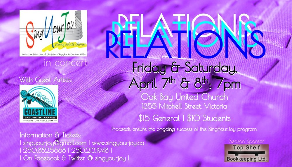 Two performances: Friday April 7, and Saturday April 8th at 7pm at Oak Bay United Church