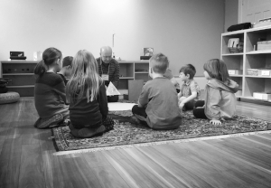 Children's Church  is for people who are in Kindergarten to Grade 5 (about 5-10 years old). Children's Church gathers in the Godly Play Chapel, right off the Sanctuary space. The program varies - enjoying Godly Play, yoga, The Virtues Project, and learning about outreach.
