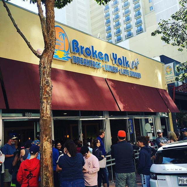 Busy Morning at Broken Yolk Cafe from Padres opening day!