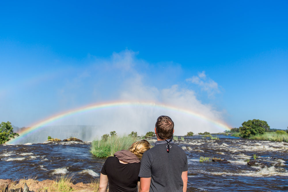 A Victoria Falls rainbow serenading us.