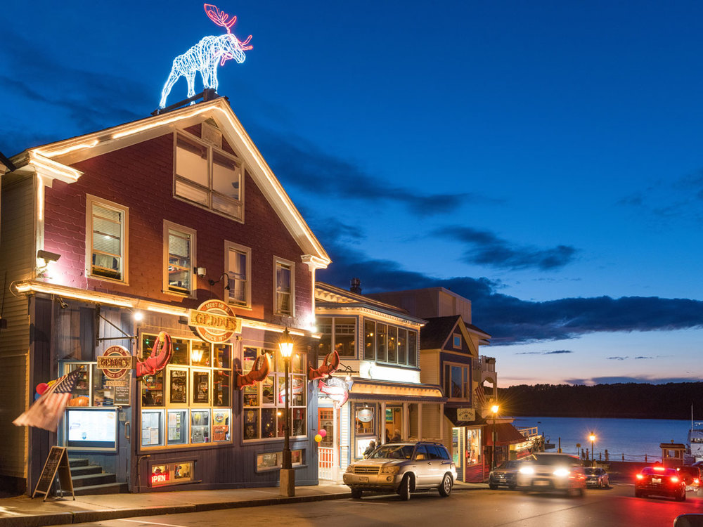 Restaurant and shops, downtown Bar Harbor, Maine