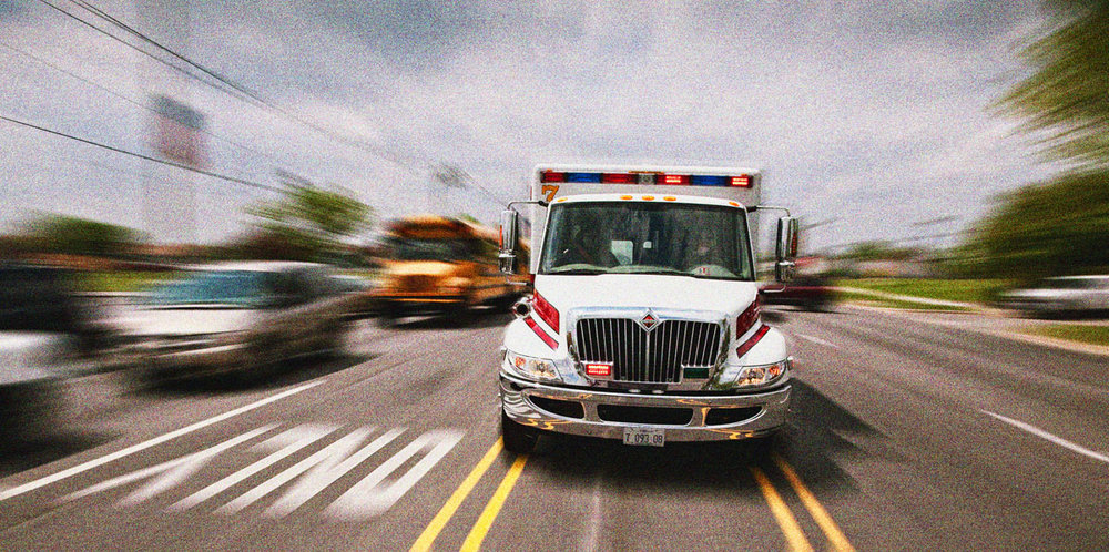 Speeding ambulance, for Emergency Department billboard