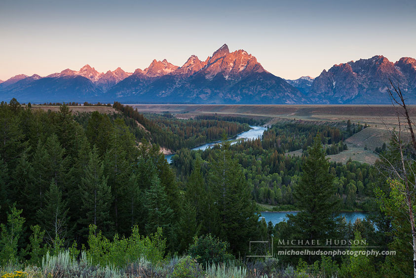 Sunrise, Grand Teton Mountain Range, from Snake River Overlook, Wyoming