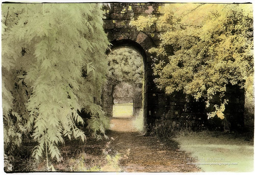 """The Narrow Gate,"" Jervaulx Abbey, 1995 (hand coloured)"