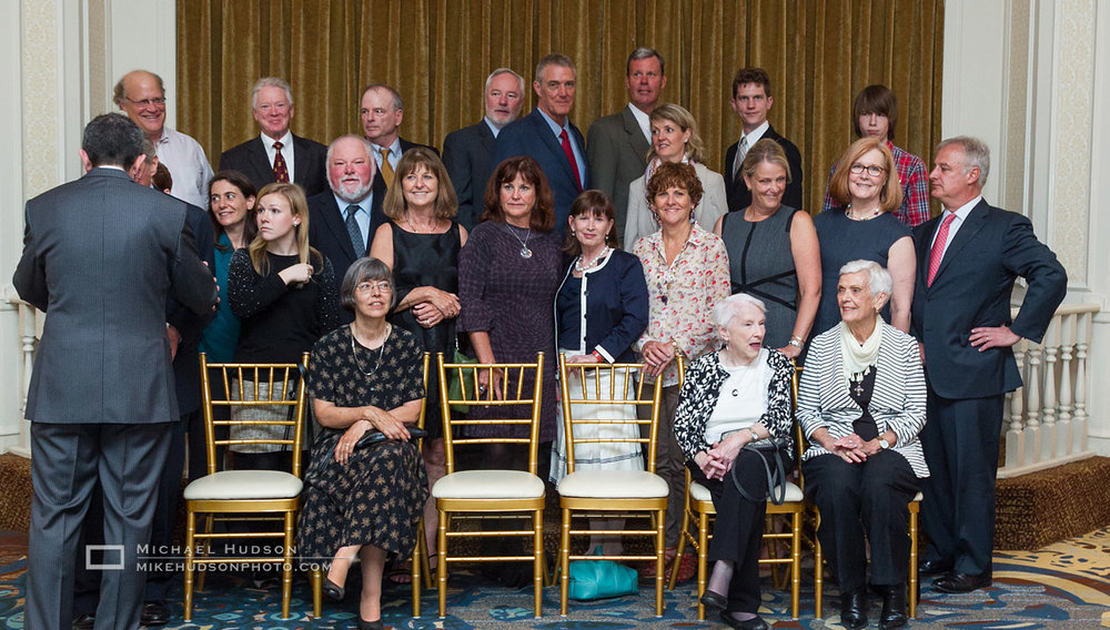 Setting up the family photo- President Higgins has many relatives living in the US.