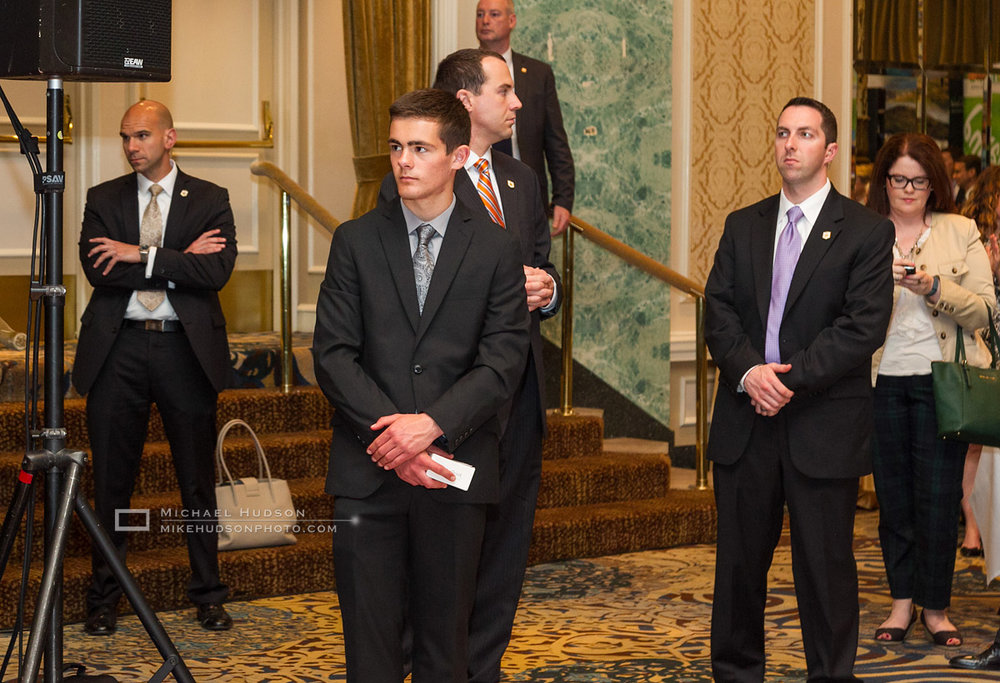 Secret Service not looking conspicuous at all. My son David is in the front, fitting in well.