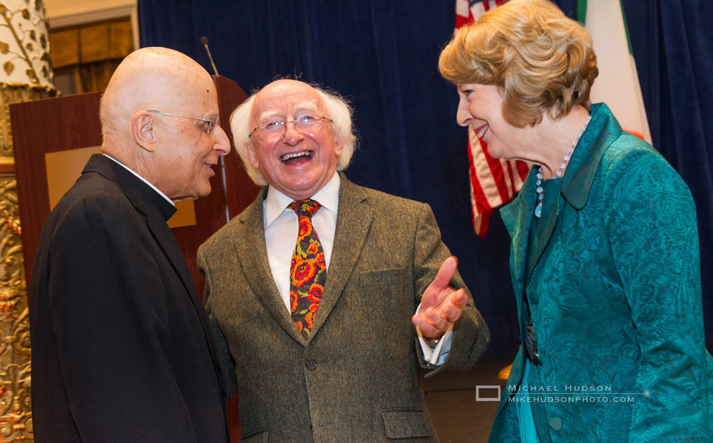 The late Cardinal Francis George stops by for a few laughs with the President.