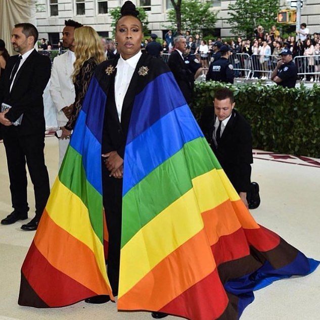 * LIVING * for @lenawaithe #METGALA look by @carolinaherrera. This. Is. Pride. 💙💚💛🧡❤️