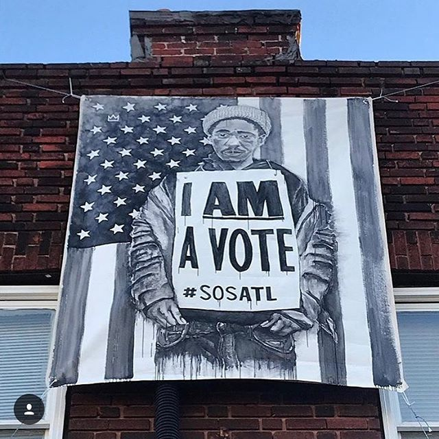 Beautiful banner by @joekingatl hanging at @swagshopedgewood. Only 7 days to make your voice count!