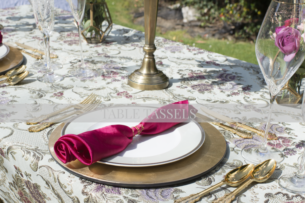 Baroque Mint Table Cloth with  Pink, Lavender & Gold Flowers