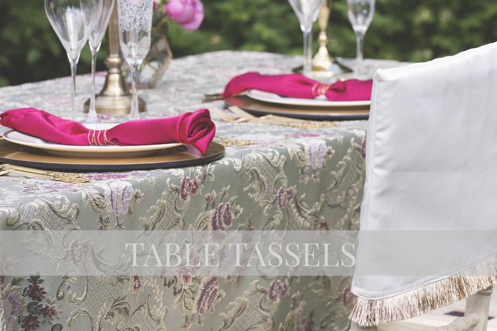 Baroque Mint Table Cloth, Fuchsia Pink Satin Napkins & White Gold Chair Caps with Gold Tassels
