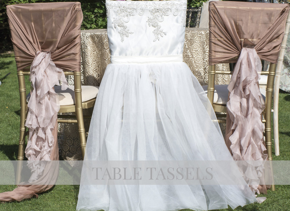 Ivory Lace and Tulle Bridal & Blush Drapes with Curly Willows Chair Covers