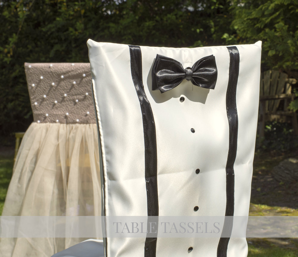Blush Pink, Cream Tulle and Pearls Bridesmaids & Groomsmen Suspender Chair Covers