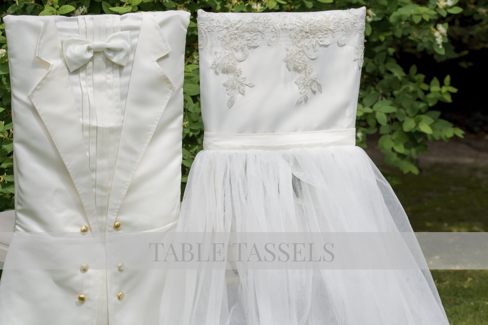 Ivory Satin Tafetta Groom & Ivory Lace and Tulle Bridal Chair Covers