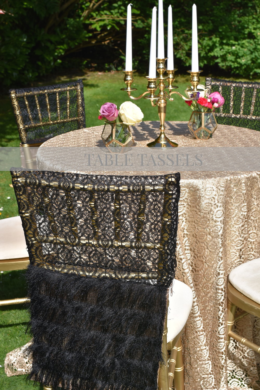 Great Gatsby Collection    Our Great Gatsby inspire collection hints glamour from every angle.   We indulge our clients with fine lace, feathers and pearls reflecting the epitome of luxury design.  Scroll through our feathery Black Gatsby & Pink Gatsby Chair Covers for your '20s inspired events, and add that elegant touch with only a few tables & chairs!