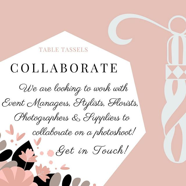 "• C O L L A B O R A T E • •  We are looking to work with #EventManagers #EventStylists #WeddingPlanners #Florists #Photographers #EventSuppliers #StationaryExperts and anyone else with #beautiful ideas for how to best #style our #linens • Get in touch if you are interested in #collaborating with us by emailing us on Hello@TableTassels.co.uk with the subject: ""Collaboration with [insert your company name]"" • We cannot wait to work with all of the #eventprofessionals across #London and #UK"
