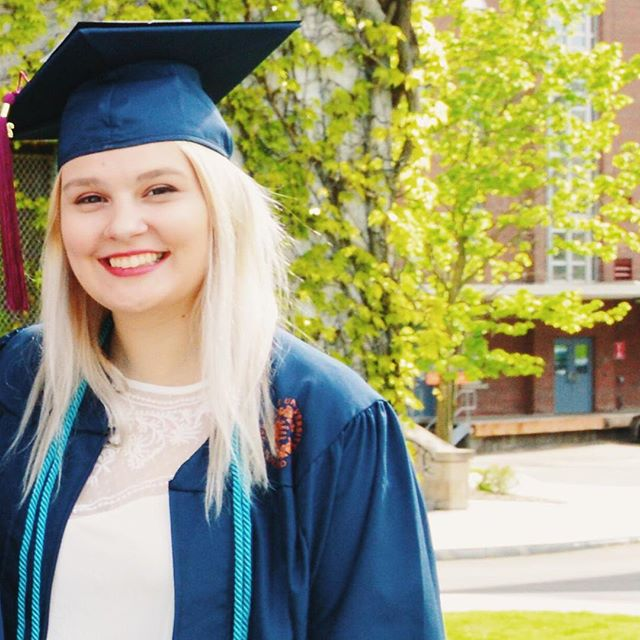 "When I was 18, my boyfriend at the time would tell me things like ""you're not as smart as you think you are"" and ""you're never going to get a job."" Last weekend, I graduated magna cum laude with a dual degree in magazine journalism and sociology from Syracuse University. I also spent my senior year writing for @bustle where I covered everything from recognizing signs of a toxic relationship to the Women's March on Washington. A year ago, an amazing professor told me that my future was big and bright. I owe that future to my education at Newhouse and all the incredible, supportive people I met along the way. Thank you Syracuse for every opportunity that led me to where I am today and for bringing some of the best friends I've ever had into my life. When I started school, I was skeptical about this so-called #NewhouseMafia alumni network, but now I get it. I'll forever bleed orange. 🍊💙"
