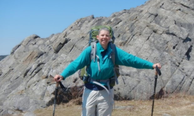 "Judy Perkins says her condition had deteriorated a lot and she was planning her death. But since the treatment she has been on a 40 mile hike. Photograph: Courtesy of Judy Perkins  from article in the Guardian ""Doctors hail world first as woman's advanced breast cancer is eradicated"".   Link below"