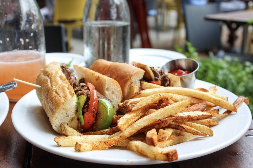 Beef Tenderloin Steak Sandwich on Baguette