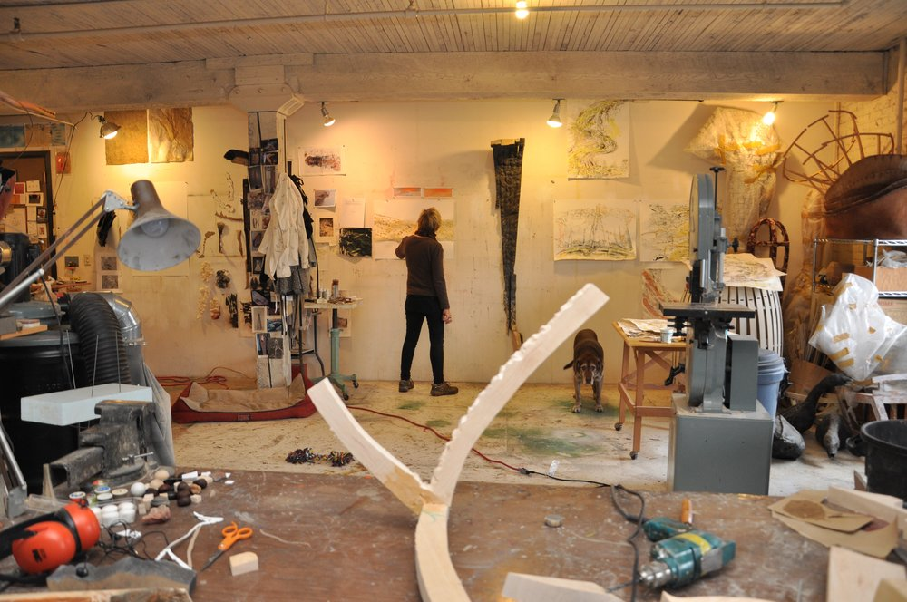 Artist Christine Bourdette in her Studio.