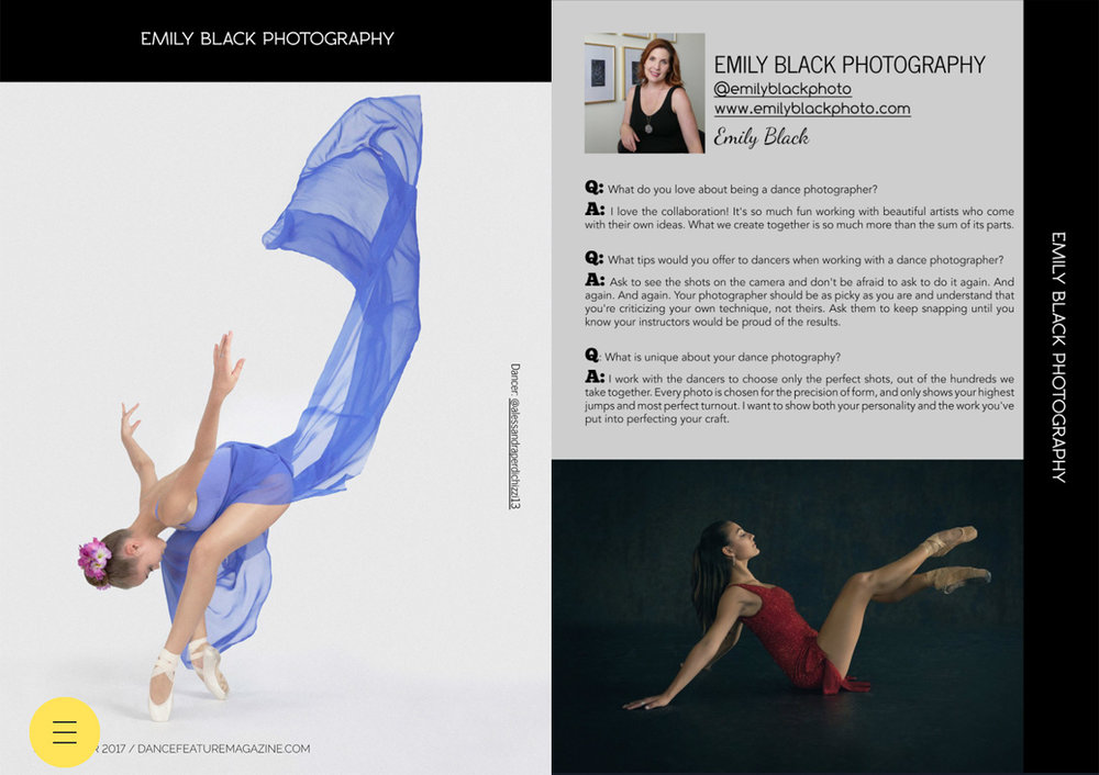 Dance Feature Magazine chose me as the Featured Photographer for their March issue.  The dancers showcased are Avery Alley, left, and Maddie Medina, right.  Visit  Dance Feature Magazine  to purchase the digital copy.