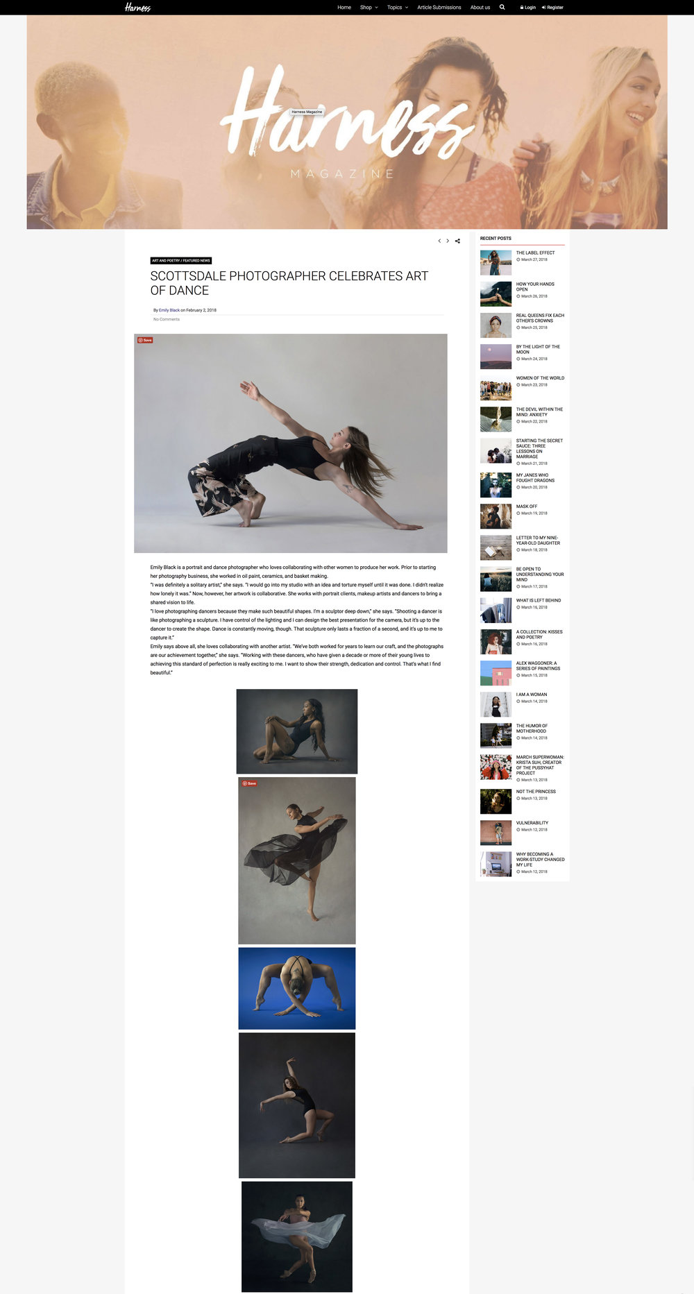 Harness Magazine featured my work on February 2.  Showcased dancers are Brittany Mayberry, Laina Carney, Meredith Matsen, Genevieve Schweitzer, Miquella Young, and Maddie Medina.  To read the article and support their mission giving voice to women and showcasing the arts, visit  H  arness Magazine.