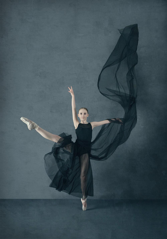Ballerina in Flowing Fabric