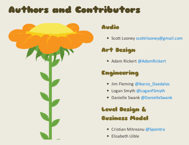 The team members section, also from the game's home page on GitHub...