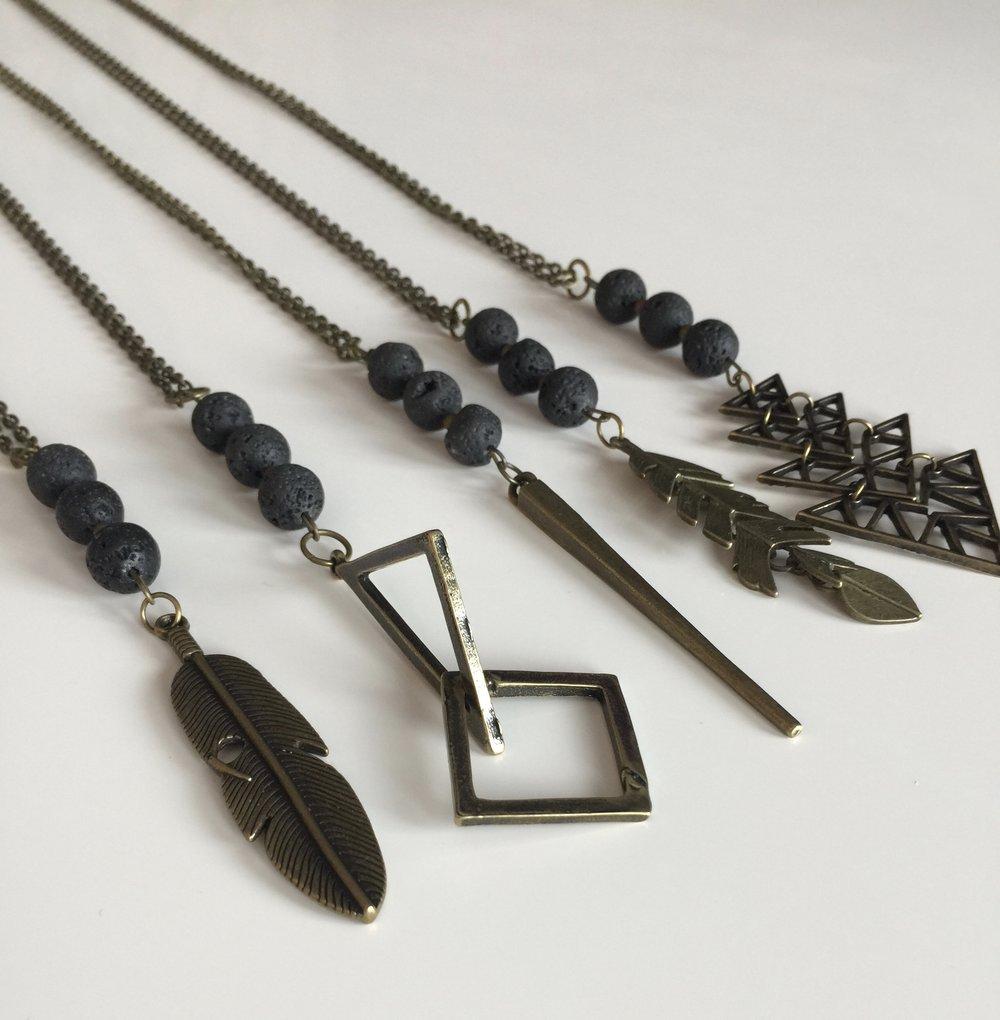 Vintage Brass Aromatherapy Necklace